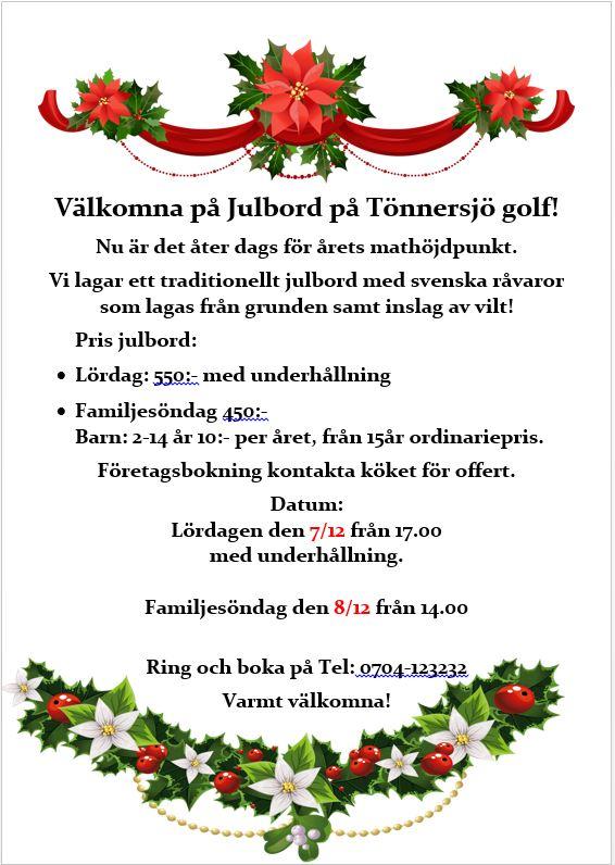 Julbord på Tönnersjö golf